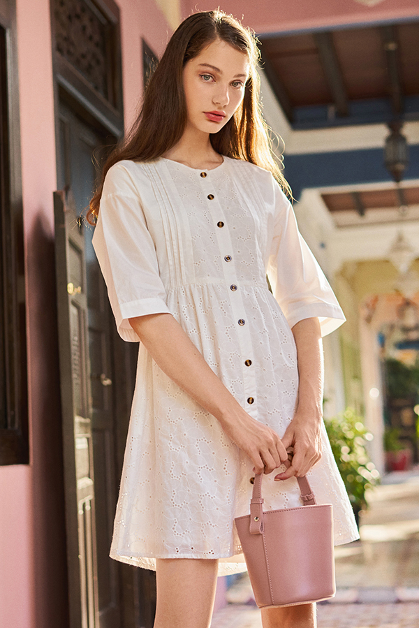 *Restock* Merene Eyelet Pintuck Dress
