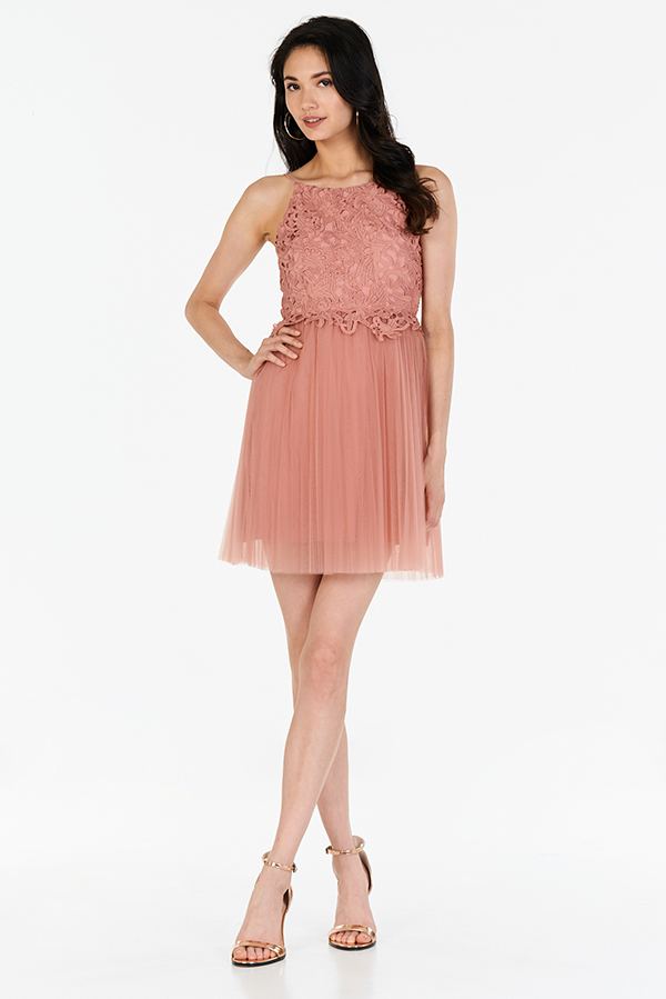 Carida Tulle Dress in Rose Pink