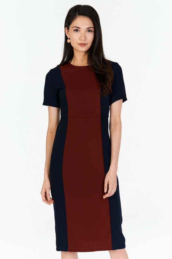 *W. By TCL* Malanie Colourblock Dress in Navy / Wine