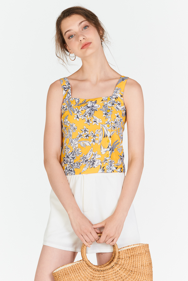 Lorena Floral Printed Top in Marigold