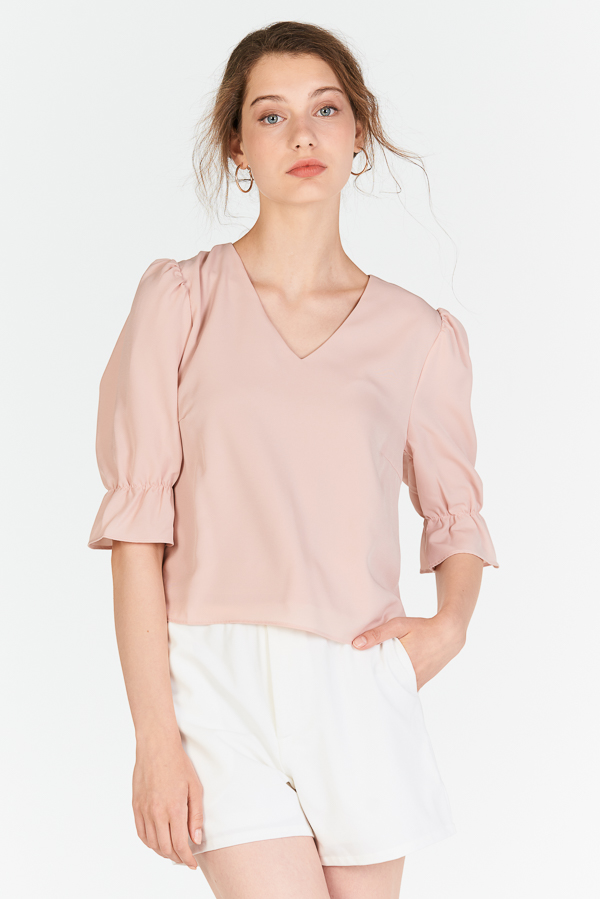 Avalyn Ruffled Sleeve Top in Pink