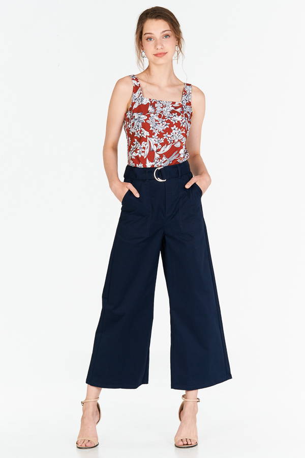 Shirlane Belted Pants in Navy