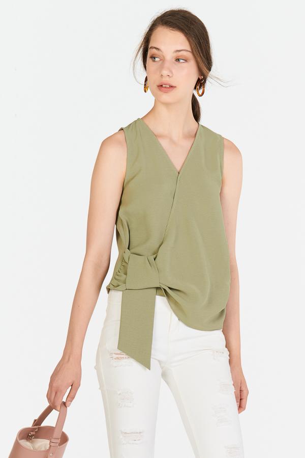 Cova Tie Detail Top in Slate Green