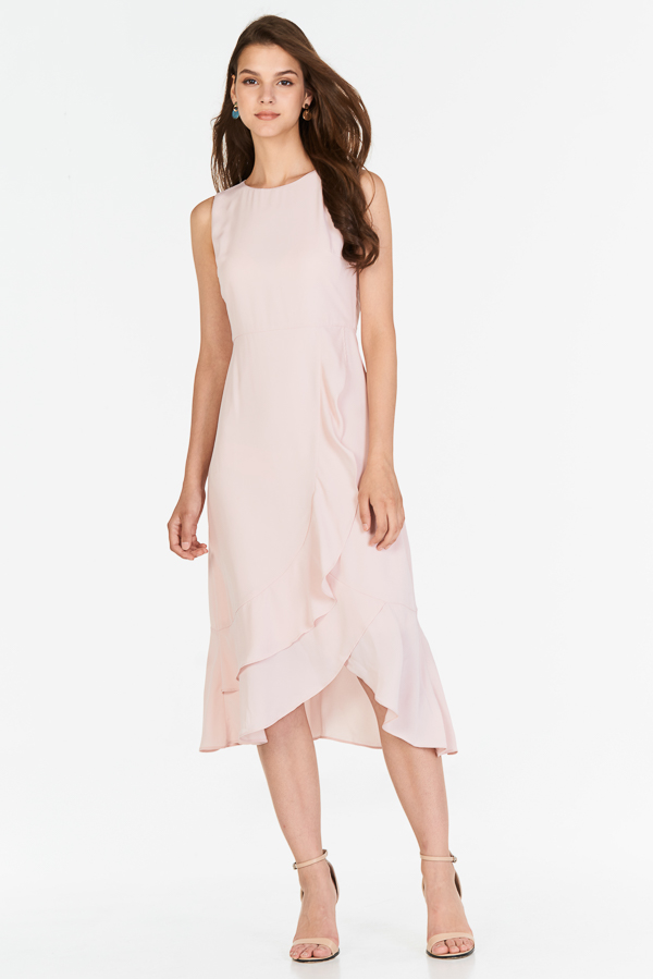 Jayleen Ruffled Midi Dress in Pink