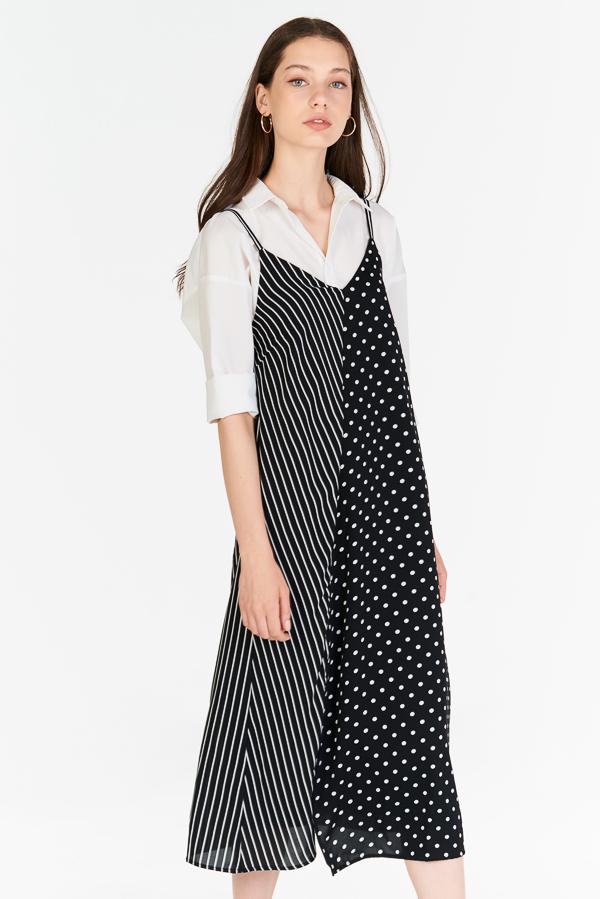 Merci Stripes Polka Dotted Midi Dress (XXS)