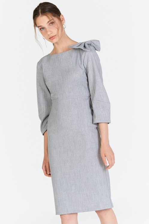 *W. By TCL* Camillea Ribbon Sleeved Dress in Grey