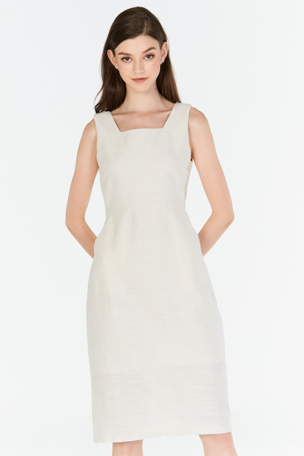 *W. By TCL* Hollie Square Neck Tweed Dress in Cream