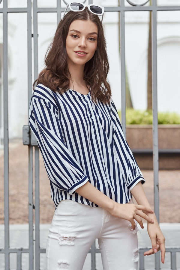 Tarra Stripes Buttoned Top