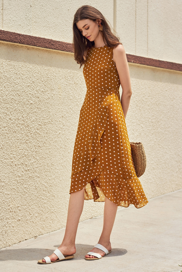 Konie Polka Dotted Ruffled Midi Dress in Mustard