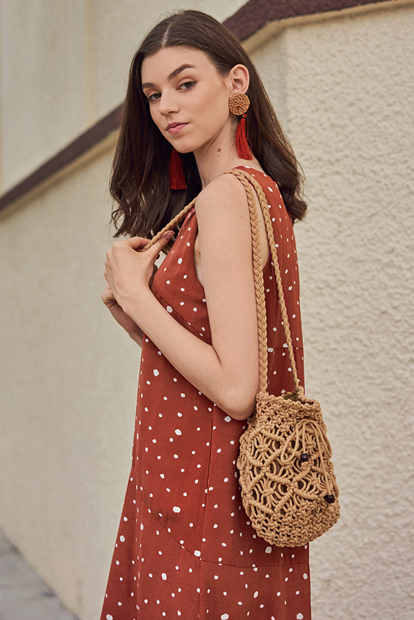 Filane Crochet Bag in Beige