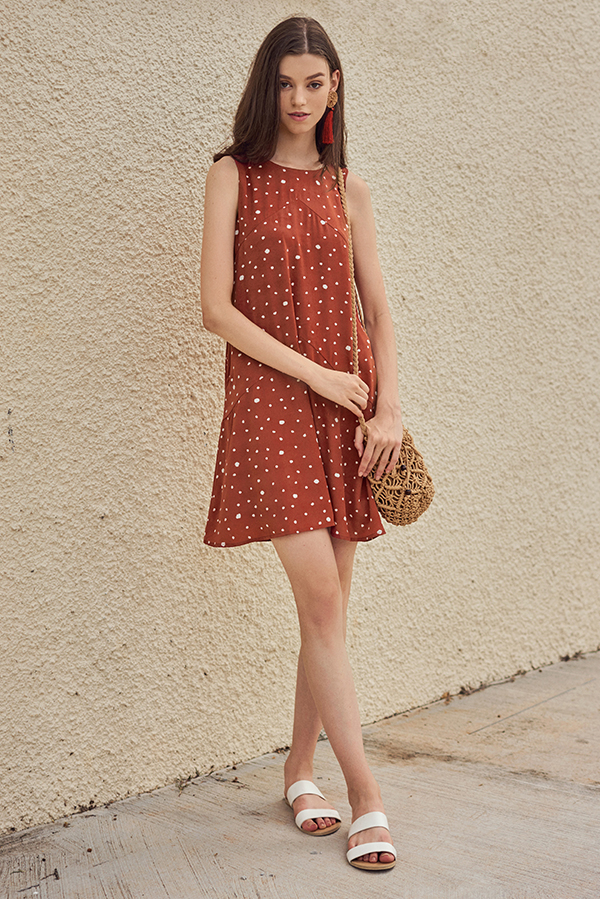 Railey Dotted Dress in Terra Cotta