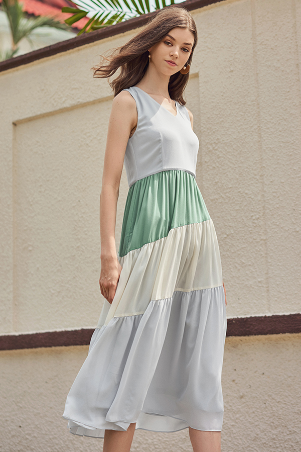 Sherie Tri-Colour Midi Dress