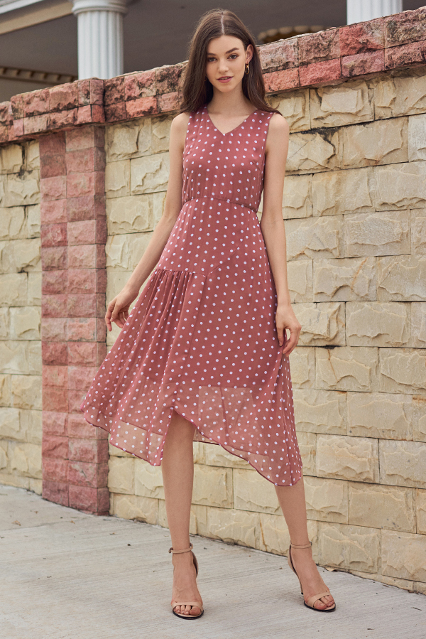 Konie Polka Dotted Asymmetrical Midi Dress in Pink
