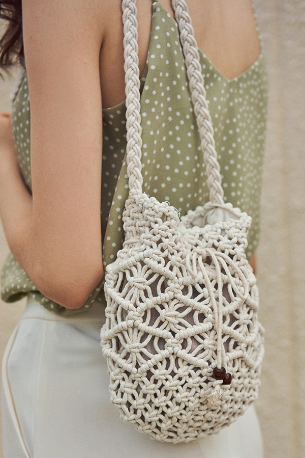 Filane Crochet Bag in Cream