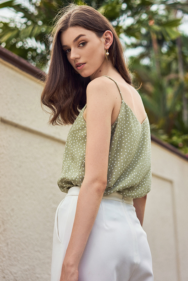 Merine Dotted Two Way Top in Sage Green