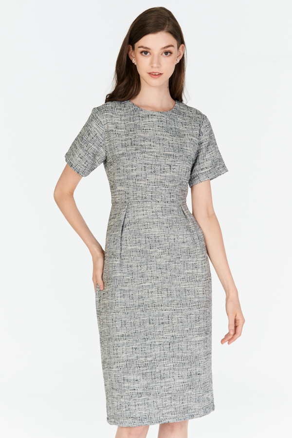 *Restock* *W. By TCL* Jenalin Sleeved Tweed Dress in Black