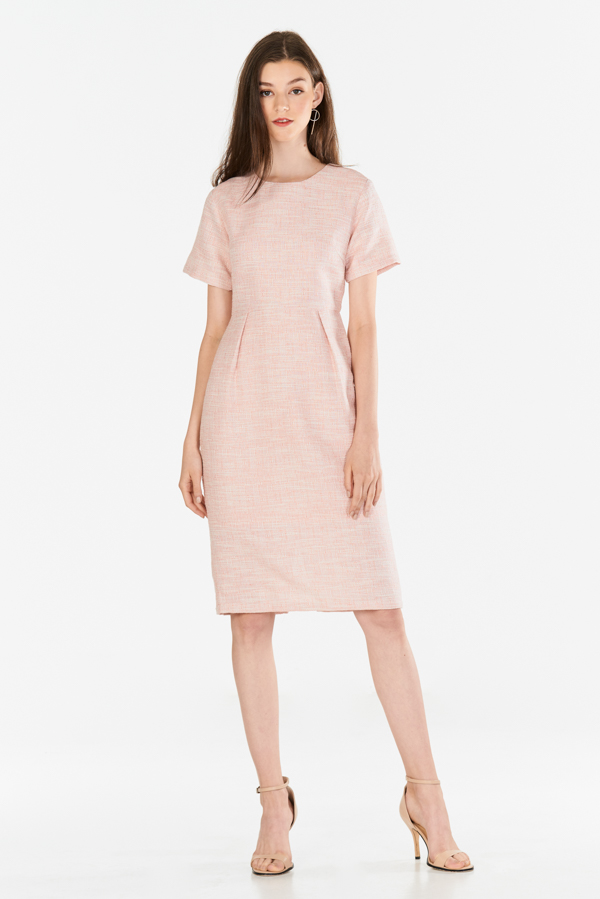 *Restock* *W. By TCL* Jenalin Sleeved Tweed Dress in Pink