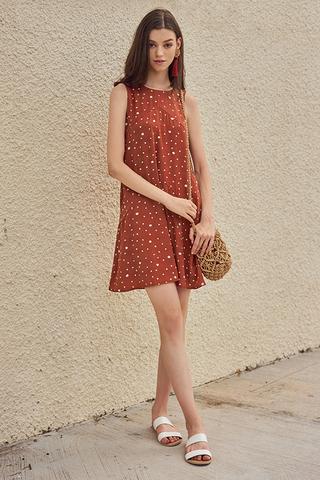 Railey Dotted Dress in Terra Cotta
