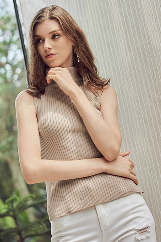 Renata High Collar Knitted Top in Nude