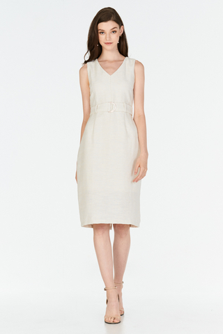 *W. By TCL* Candyce Belted Tweed Dress in Cream