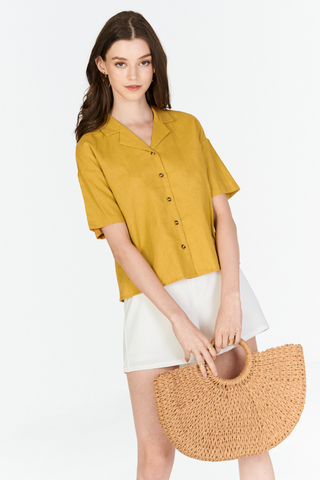 Renise Buttoned Top in Mustard