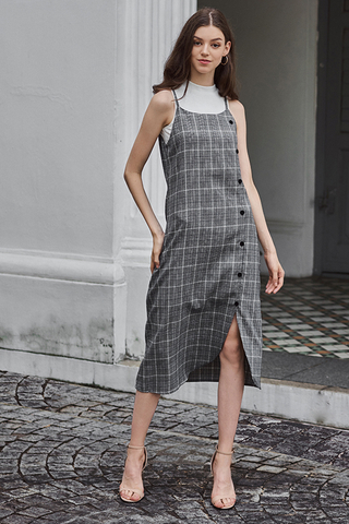 Haylee Houndstooth Slip Dress