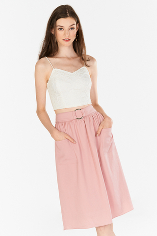 Terise Belted Midi Skirt in Pink