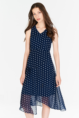 Konie Polka Dotted Asymmetrical Midi Dress in Navy