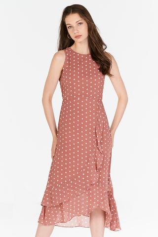 Konie Polka Dotted Ruffled Midi Dress in Pink