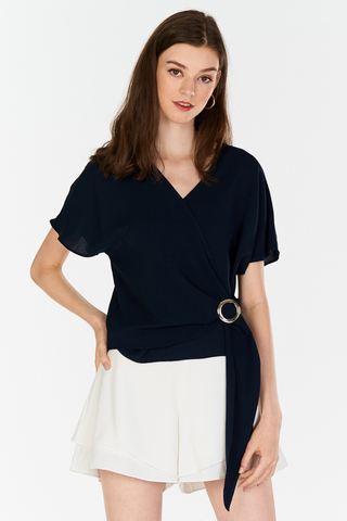 Jiline Buckle Top in Navy