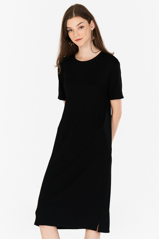 Halia Ribbed Midi Dress in Black
