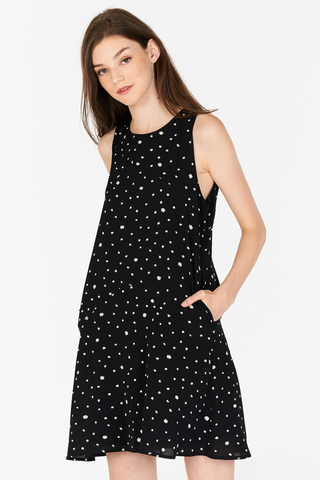 Railey Dotted Dress in Black