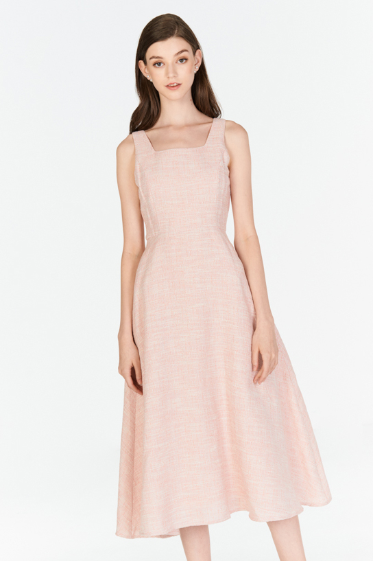 *W. By TCL* Kenzi Tweed Midi Dress in Pink
