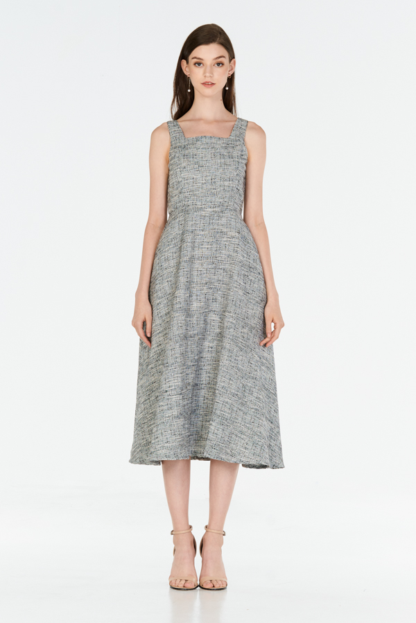 *W. By TCL* Kenzi Tweed Midi Dress in Black