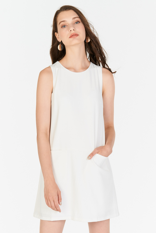 Paulyna Linen Pocket Shift Dress in White