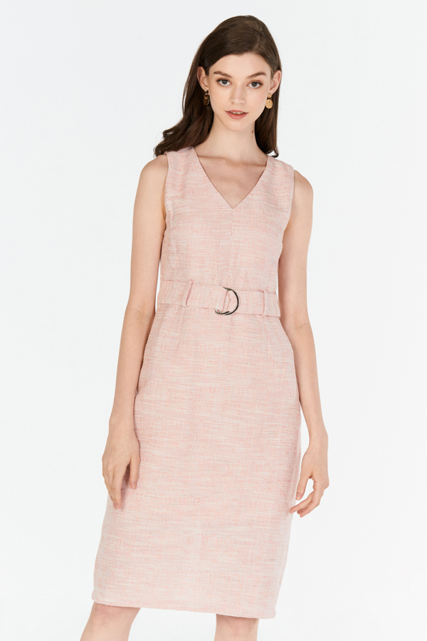 *W. By TCL* Candyce Belted Tweed Dress in Pink