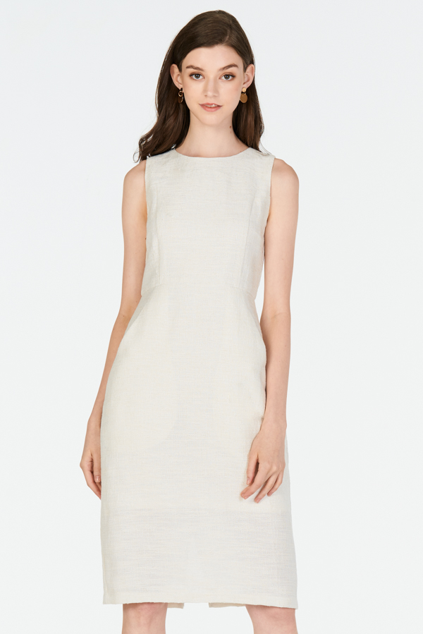 *W. By TCL* Alyne Tweed Dress in Cream