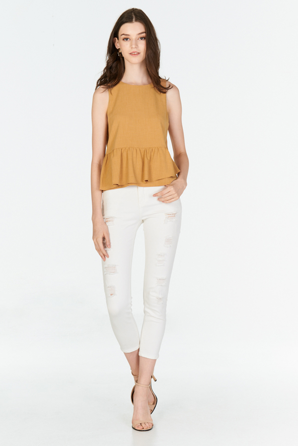 Merlane Peplum Top in Honey