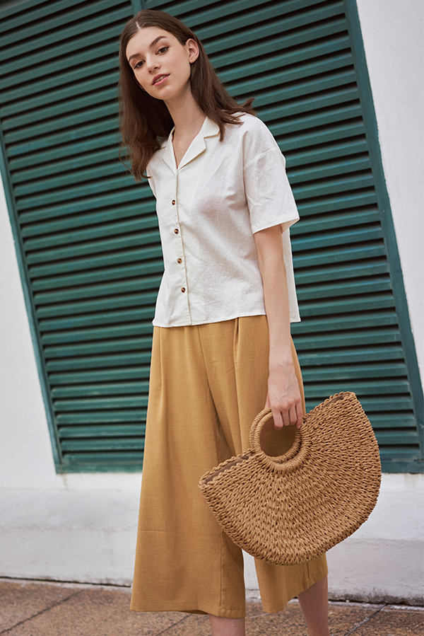 Renise Buttoned Top in Cream