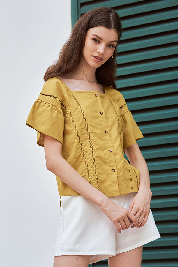 Sherise Crochet Linen Top in Mustard
