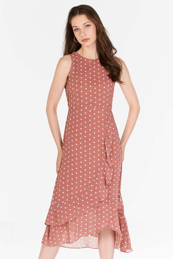 Konie Polka Dotted Ruffled Midi Dress in Pink