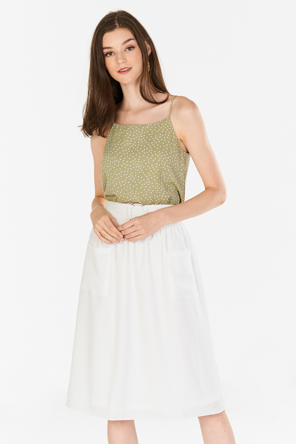 Terise Belted Midi Skirt in White