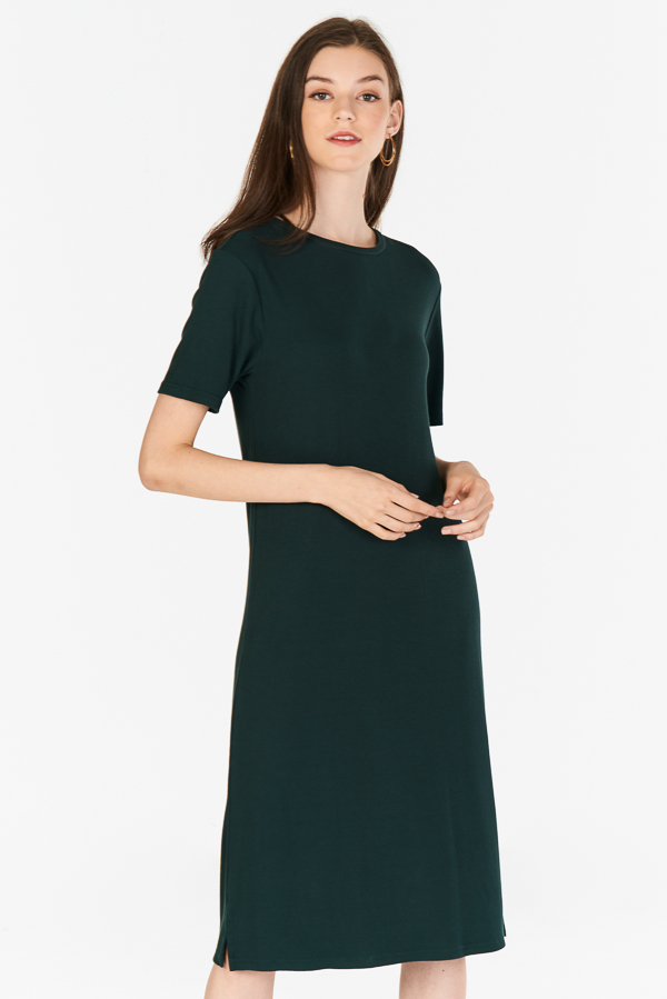 4039f32cc3de ... Halia Ribbed Midi Dress in Forest. Hover your mouse to view bigger  image Double tap to zoom