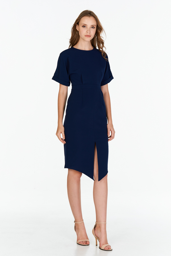 Chijmes Midi Dress in Navy