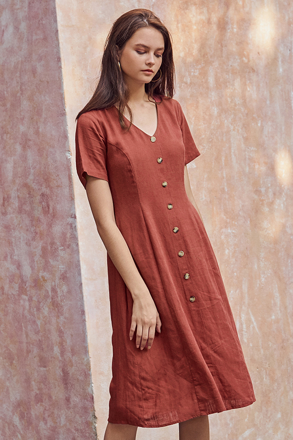 *Restock* Marella Linen Midi Dress in Brick Red