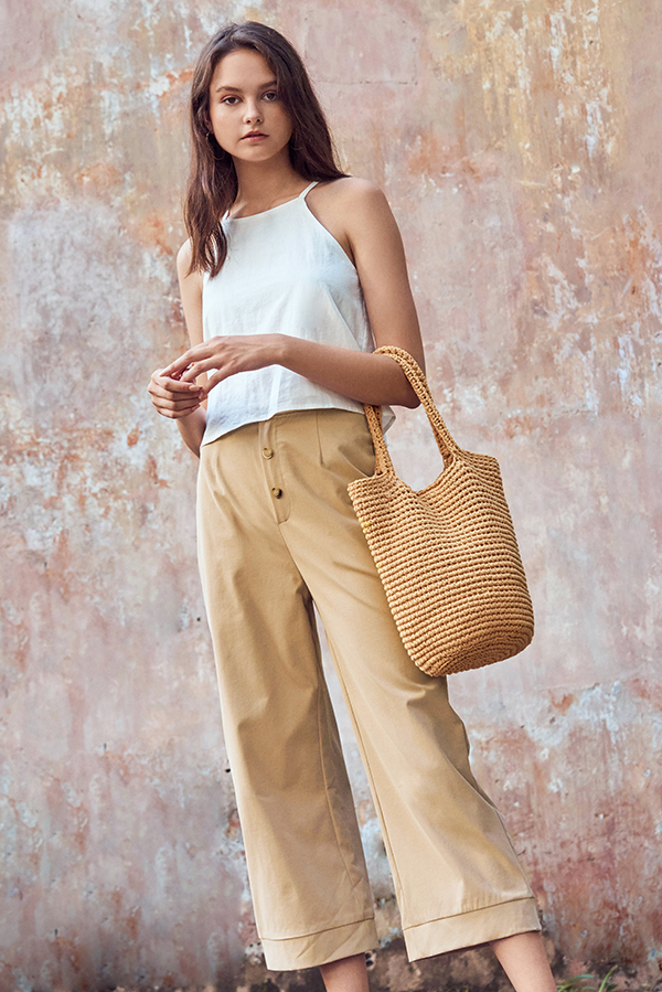 Charis Buttoned Pants in Khaki