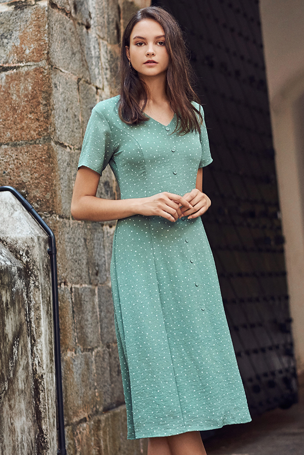 Lyna Polka Dotted Midi Dress in Green