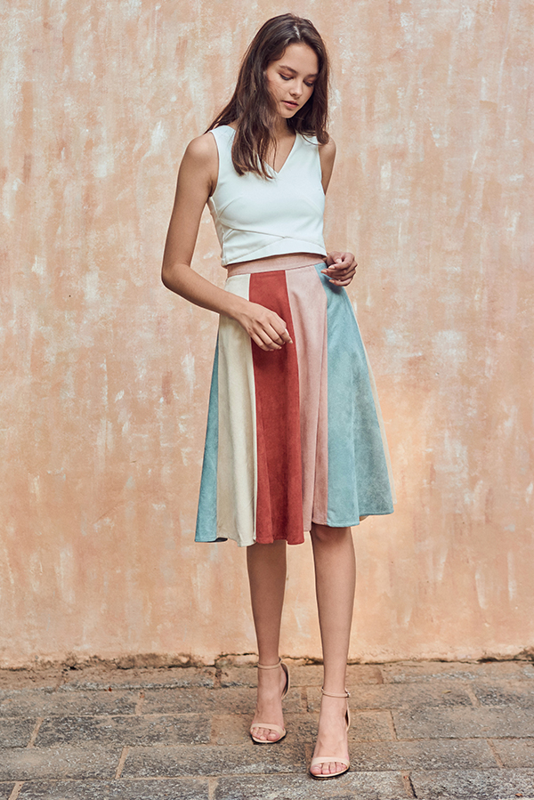 *Backorder* Lucina Suede Midi Skirt in Pink