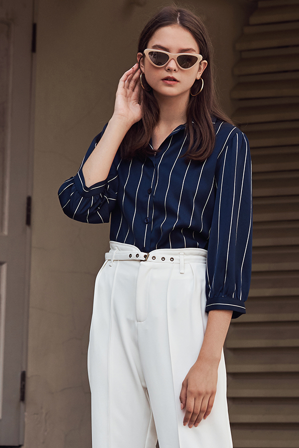 Karlyn Striped Top in Navy
