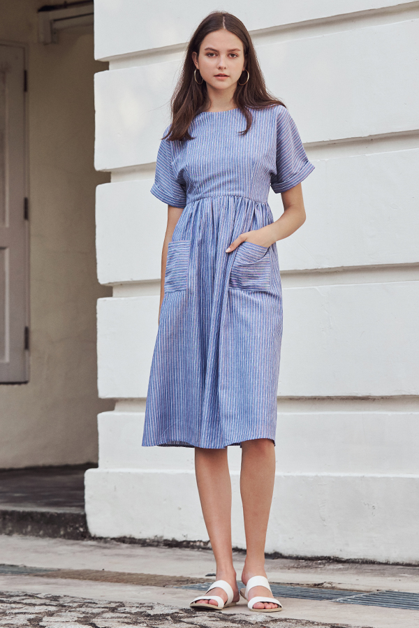 Elias Linen Midi Dress in Stripes